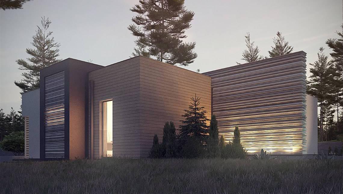 Проект одноэтажного модернового дома для узкого участка