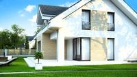 Проект приятного дома с мансардой в строгом стиле