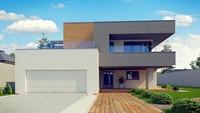Проект современного двухэтажного коттеджа с плоской кровлей с гаражом на две машины