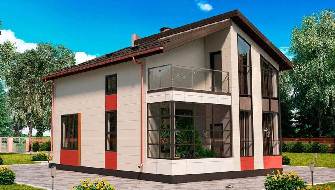 Компактный домик с большими окнами
