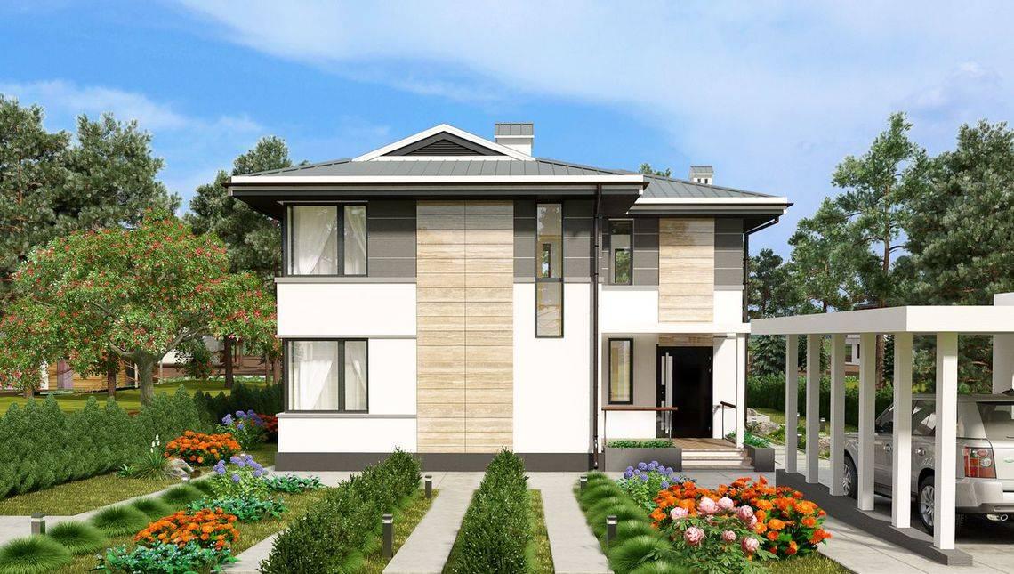 Проект современного дома с просторной террасой и балконом