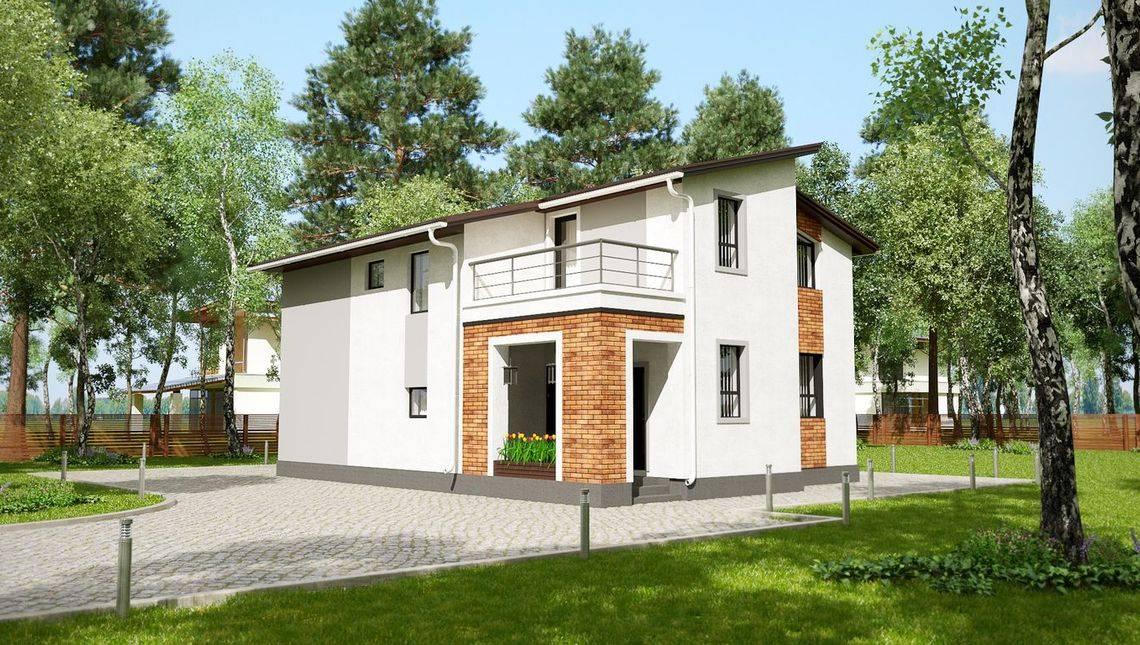 Двухэтажный особняк с тремя балконами и террасой
