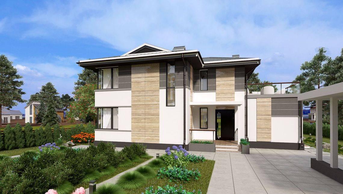 Проект двухэтажного особняка с шикарной зоной отдыха