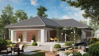 Проект одноэтажного дома с большой уютной террасой