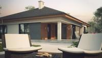 Проект 1 этажного дома с эркером и террасой