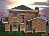 Проект двухэтажного особняка в строгом стиле с кирпичным фасадом
