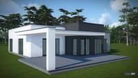 Современный проект одноэтажного дома с плоской крышей