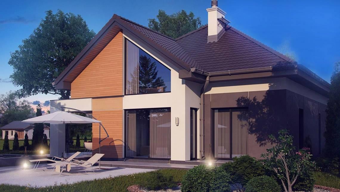 Проект загородного дома с многоскатной кровлей и фронтальным гаражом
