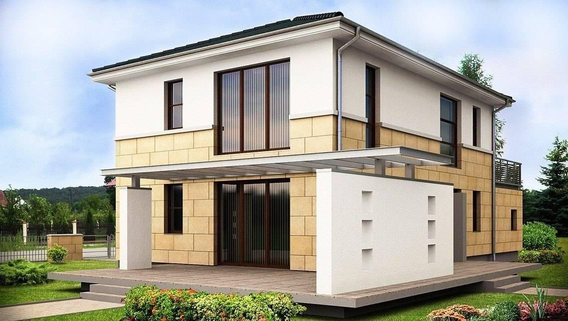 Проект хайтек 2х этажного дома простой конструкции