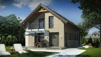 Проект компактного дома для узкого участка, с гаражом и террасой над ним