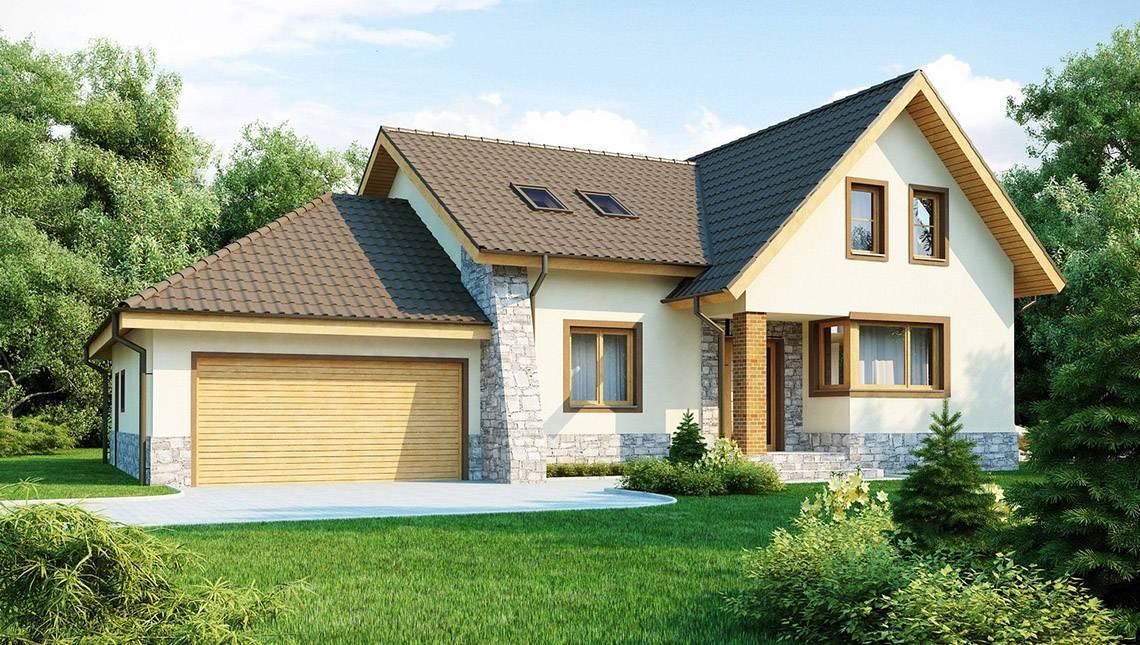Проект дома с гаражом для двух машин и красивым балконом