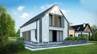 Проект дома с мансардой с гаражом на два авто