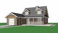 Проект двухэтажного дома с пристроенным гаражом на одно авто