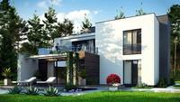 Проект небольшого современного двухэтажного дома с террасой на втором этаже