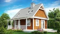 Проект дачного домика с компактной террасой