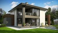 Проект двухэтажного коттеджа с большими панорамными окнами и просторной террасой