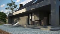 Проект интересного коттеджа с большой террасой над гаражом
