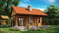 Проект бюджетного негабаритного одноэтажного коттеджа с деревянным фасадом