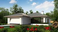 Проект одноэтажного коттеджа с гаражом на две машины площадью до 150 m²