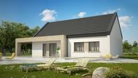 Классический одноэтажный дом для узкого участка площадью 130 m²