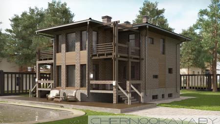 Двухэтажный коттедж интересного дизайна