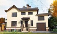 План двухэтажного коттеджа с гаражом на два автомобиля и просторной верандой