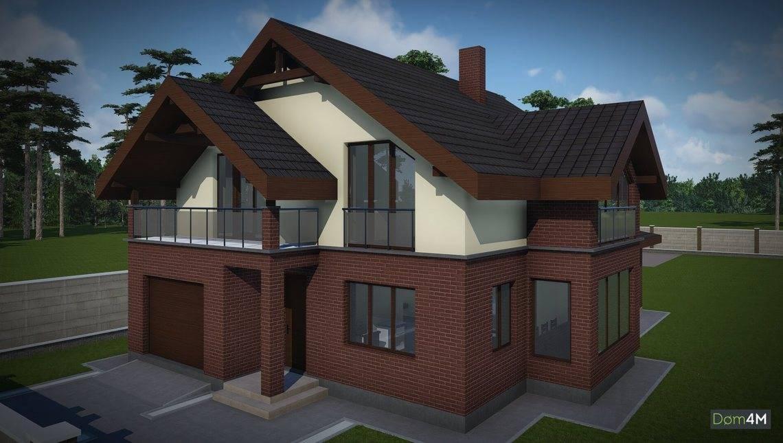 Проект дома из кирпича с мансардой и гаражом