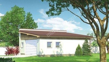 Проект гаража на два авто с односкатной крышей