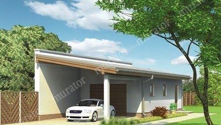 Проект гаража с навесом на 1 авто