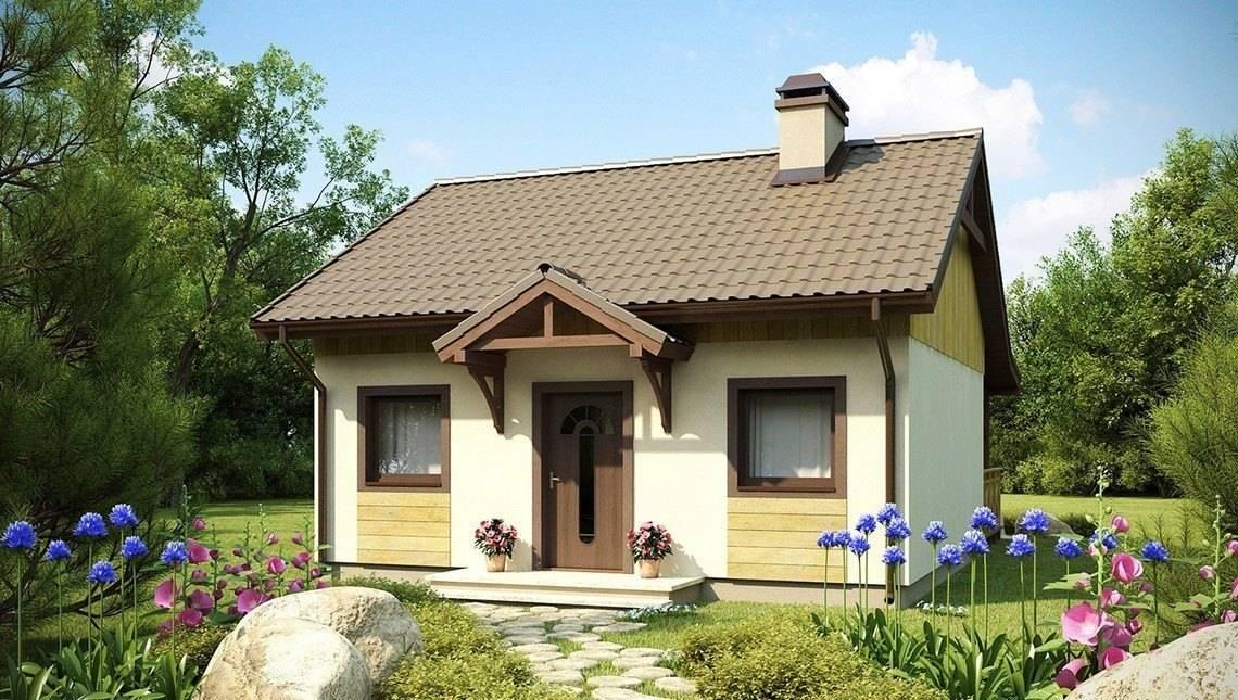 Проект небольшого загородного коттеджа с крытой террасой