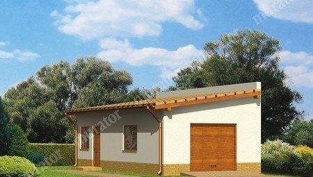 Проект гаража с жилой комнатой под односкатной крышей