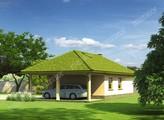 Проект гаража на 2 машины с навесом и террасой