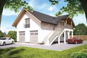 Проект гаража на 3 машины с жилыми помещениями на втором этаже