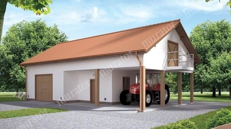 Проект гаража с большой мансардой
