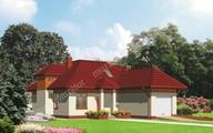 Проект коттеджа на 4 спальни с крышей сложной формы