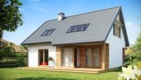 Экономичный проект комфортного дома с мансардой и гаражом