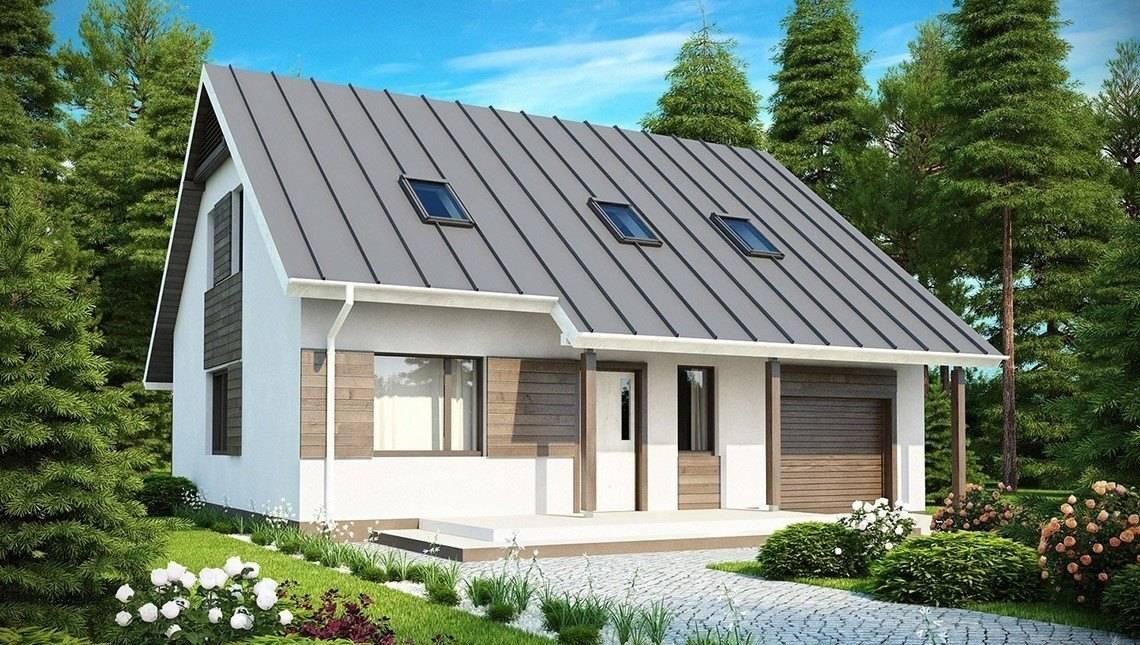 Проект аккуратного мансардного дома со встроенным гаражом для одной машины