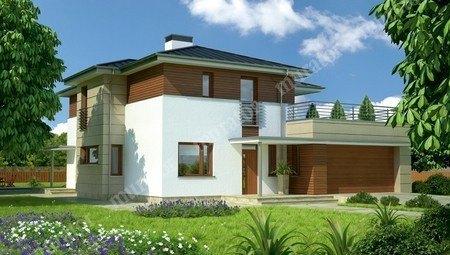 Проект современного дома с террасой на втором этаже