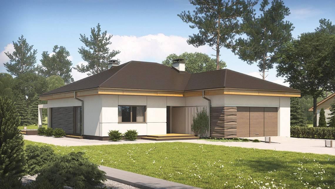 Проект просторного коттеджа с панорамными окнами и гаражом на 2 авто