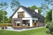 Проект двухэтажного дома с темным декором