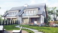 Проект загородного коттеджа на две семьи с гаражом на каждой половине