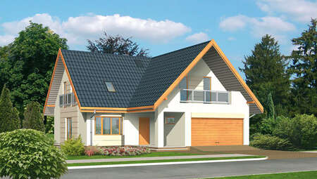 Проект привлекательного загородного дома с гаражом на 2 два авто