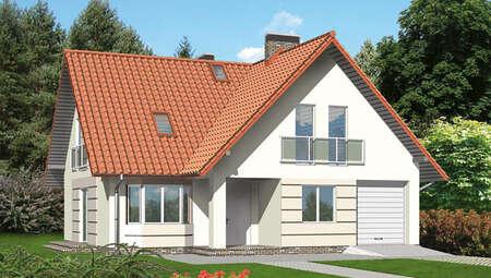 Проект стильного красочного двухэтажного дома