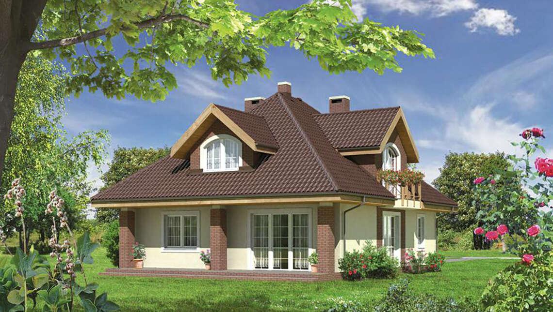 Проект чудесного двухэтажного дома с колоннами