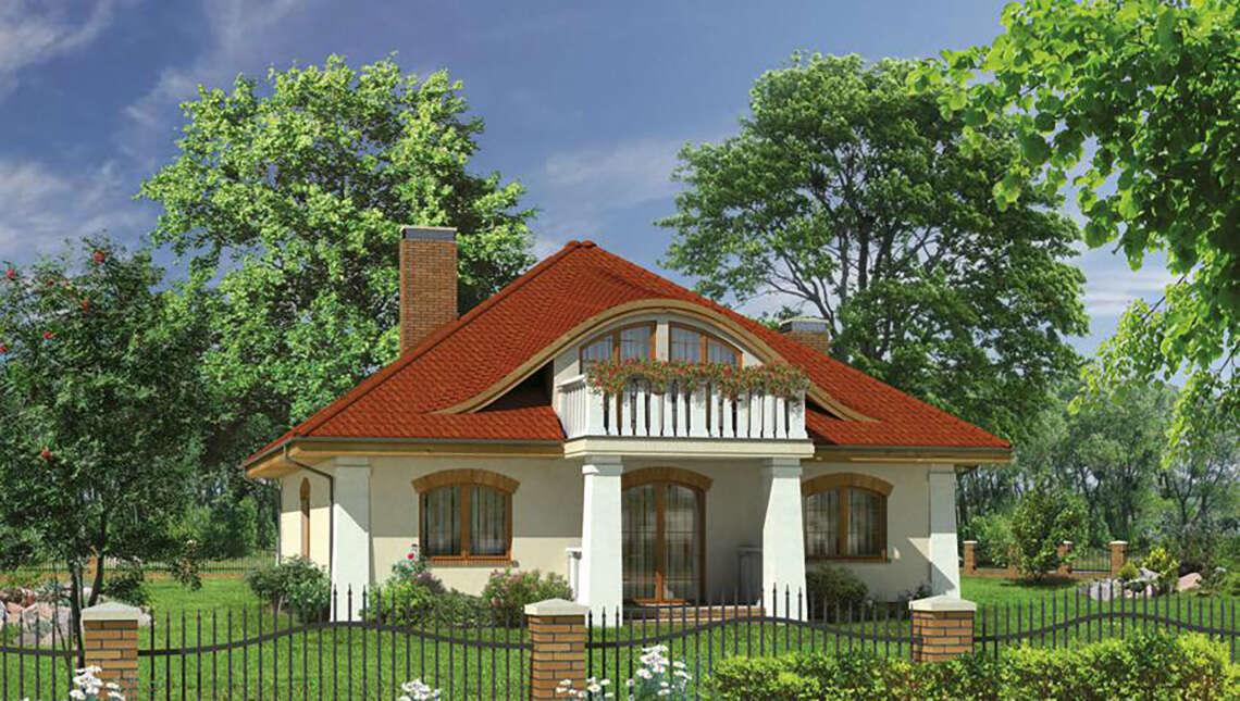 Проект интересного дома с полукруглыми окнами