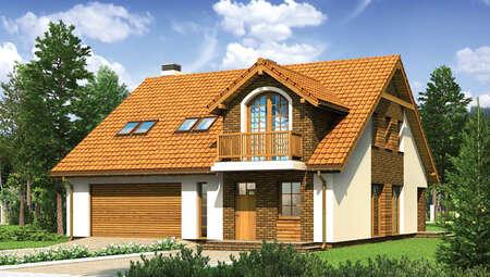 Интересный проект дома с декором насыщенного цвета