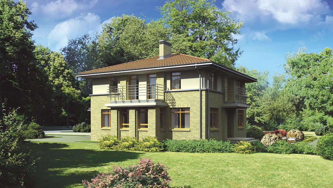 Проект интересного дома гармоничного окружающему ландшафту