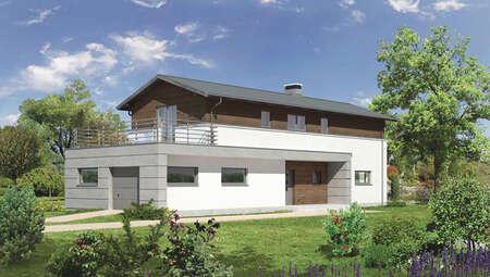 Проект дома для узкого участка на 4 спальни