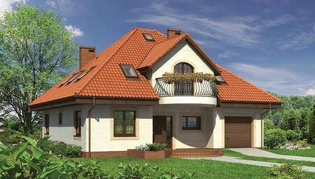 Красивый особняк с полукруглыми балконами