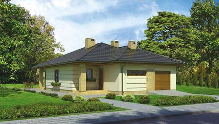 Проект одноэтажного дома с двумя верандами и гаражом на 1 авто